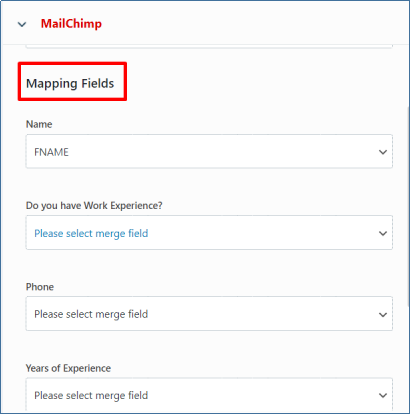 Mapping Fields Mailchimp